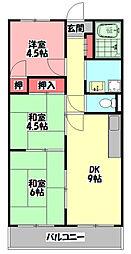 リビングアイランドII 2階3DKの間取り
