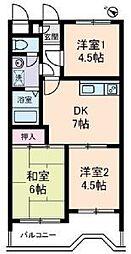 セザール第2東川口[202号室]の間取り