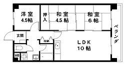 滋賀県近江八幡市桜宮町の賃貸マンションの間取り