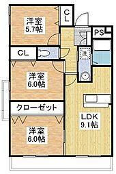 マイキャッスル杉坂[3階]の間取り