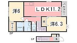兵庫県明石市大久保町西島の賃貸アパートの間取り