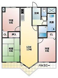 兵庫県加古川市別府町東町の賃貸マンションの間取り