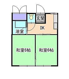 南海高野線 大阪狭山市駅 徒歩12分の賃貸アパート 2DKの間取り