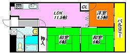 第2大原マンション 702号室[7階]の間取り