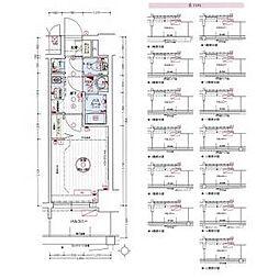 名古屋市営東山線 亀島駅 徒歩3分の賃貸アパート 12階1Kの間取り