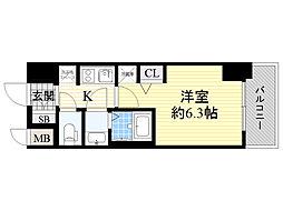 エステムコート新大阪12オルティ 9階1Kの間取り