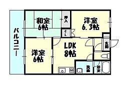 福岡県福岡市博多区浦田2丁目の賃貸アパートの間取り