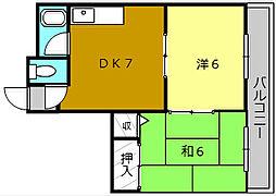 高砂マンション[4階]の間取り
