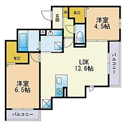 (仮)Dーroom香椎駅前 3階2LDKの間取り