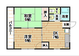 福岡県北九州市八幡西区本城東5丁目の賃貸アパートの間取り