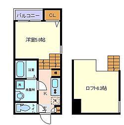仙台市営南北線 長町一丁目駅 徒歩8分の賃貸アパート 1階1Kの間取り