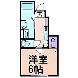 RiverainIII(リバレインIII) 1階1Kの間取り