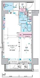 ジェノヴィア東神田グリーンヴェール 8階1LDKの間取り