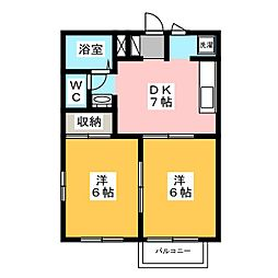 コーポ下石田III[2階]の間取り