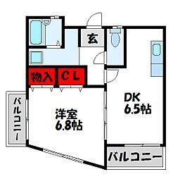 福岡県宗像市田熊4丁目の賃貸マンションの間取り