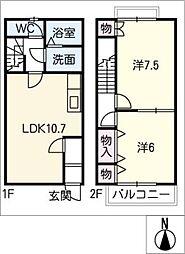 [タウンハウス] 愛知県北名古屋市西之保立石 の賃貸【/】の間取り