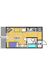 簗瀬3丁目 1K マンション[3階]の間取り