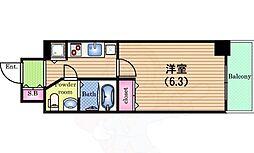 Osaka Metro中央線 阿波座駅 徒歩3分の賃貸マンション 7階1Kの間取り