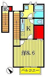 東京都葛飾区南水元2丁目の賃貸アパートの間取り