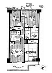 東京都狛江市岩戸北3丁目の賃貸マンションの間取り