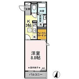 仮称)D-room港南台4丁目 1階1Kの間取り