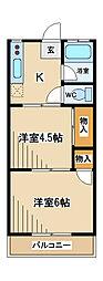 東京都府中市是政5丁目の賃貸マンションの間取り