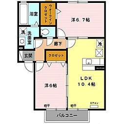 メゾンベールA[2階]の間取り