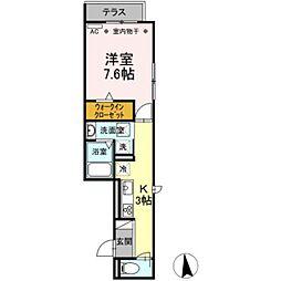 バス 大宝町下車 徒歩3分の賃貸アパート 3階1Kの間取り