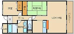 大阪府藤井寺市林2丁目の賃貸マンションの間取り