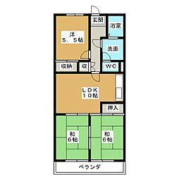 丸二サンハイツ[2階]の間取り