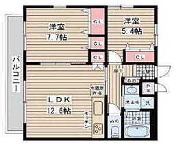 NLC豊中グリーンプレイスII 2階2LDKの間取り