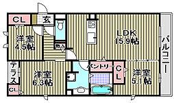 (仮称)D−room和泉市池上[3C号室]の間取り