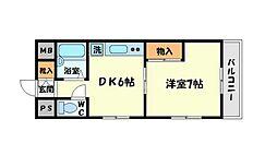大阪府吹田市片山町2丁目の賃貸マンションの間取り