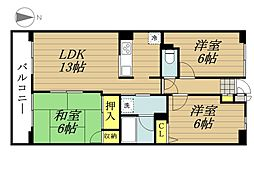 JR埼京線 北与野駅 徒歩5分の賃貸マンション 8階3LDKの間取り
