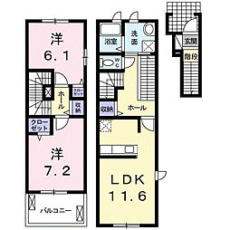 静岡県浜松市南区安松町の賃貸アパートの間取り
