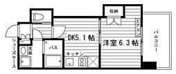 JR山陽本線 岡山駅 徒歩11分の賃貸マンション 6階1DKの間取り