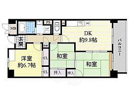 サニーヒル忍ヶ丘 6階3DKの間取り