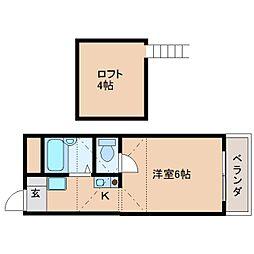近鉄天理線 天理駅 徒歩5分の賃貸マンション 4階ワンルームの間取り