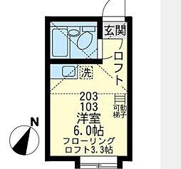 神奈川県横浜市中区北方町1丁目の賃貸アパートの間取り