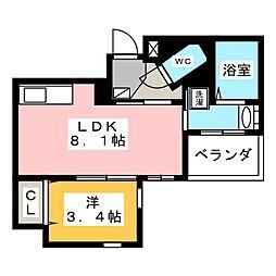 クリスタルテラス本山 8階1LDKの間取り