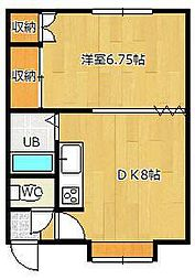 マルシゲハイツ泉1[3号室]の間取り