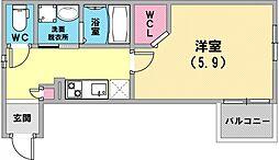 アビタ青木パークサイド 3階1Kの間取り