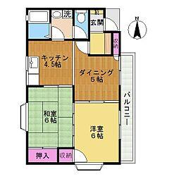 東京都稲城市押立の賃貸アパートの間取り