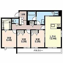 石川県金沢市八日市2丁目の賃貸マンションの間取り