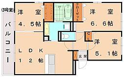 セジュール三代[3階]の間取り