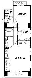 ミリオンコーポラス白菊[701号室]の間取り