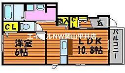 JR山陽本線 万富駅 4kmの賃貸アパート 1階1LDKの間取り