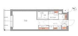 ハーモニーレジデンス品川高輪 3階1Kの間取り