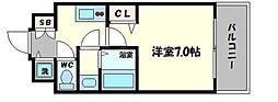 フォーリアライズ阿波座ウエスト 7階1Kの間取り