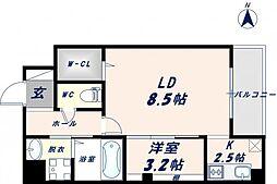 Osaka Metro千日前線 北巽駅 徒歩17分の賃貸マンション 9階1LDKの間取り